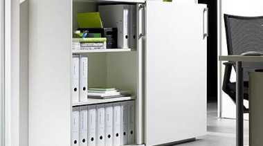 Sliding door units in the office provide well-organised angle, bookcase, filing cabinet, furniture, product, product design, shelf, shelving, white