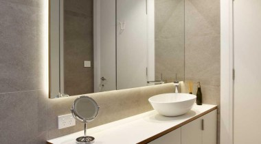 Generous sized mirrors in the bathroom are backlit bathroom, bathroom accessory, bathroom cabinet, interior design, product design, room, sink, gray