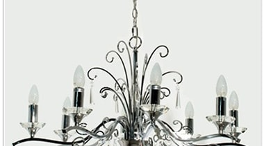 FeaturesThe Diaz chandelier incorporates bright chrome arms and chandelier, decor, light fixture, lighting, product design, white