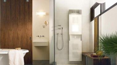 Vedana Care Unit fits right into a shower bathroom, door, floor, flooring, interior design, plumbing fixture, room, tile, white