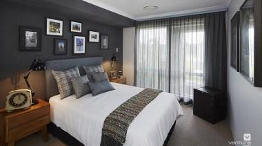 Bedroom design. - The Macquarie Display Home - bed frame, bedroom, ceiling, home, interior design, property, real estate, room, window, gray, black