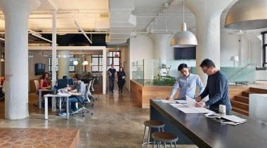 The design for renowned advertising agency Wieden+Kennedy moves cafeteria, furniture, institution, interior design, office, restaurant, gray