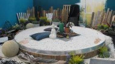 At Ellerslie International Flower Show - At Ellerslie backyard, landscape, landscaping, outdoor structure, patio, gray