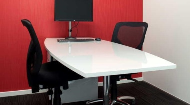 interview room at dkw personnel office designed by angle, chair, desk, furniture, interior design, office, office chair, product, product design, table, black, red