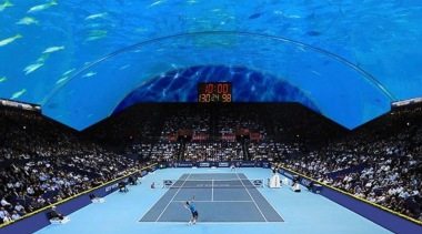 World's First Underwater Tennis Complex 06 - World's arena, competition event, leisure, sport venue, sports, structure, world, blue