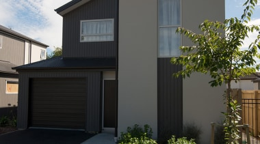 Niagara's enhanced timber profiling and finishing methods include architecture, building, elevation, estate, facade, home, house, property, real estate, residential area, siding, window, gray, black