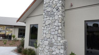 Tilt slab pre-cast concrete cladding and feature river facade, home, monument, stone wall, structure, wall, gray, white