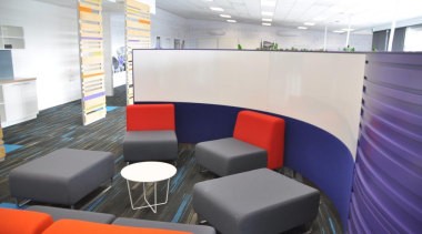 Potter Interior Systems creates customised whiteboard solutions for conference hall, furniture, interior design, office, table, waiting room, white
