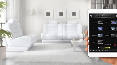 OneTouch ap on your iPad or Android lets electronics, furniture, interior design, product, product design, technology, white