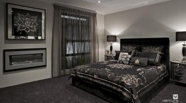 Master ensuite design. - The Providence Display Home bed frame, bedroom, home, interior design, room, window, black, gray