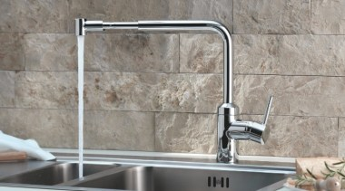 The L-INE Sink Mixer range from Kludi is countertop, kitchen, plumbing fixture, sink, tap, tile, gray, white