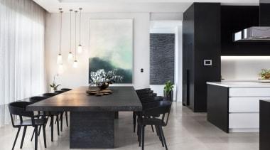Leon House dining room, floor, furniture, interior design, interior designer, kitchen, room, table, white, black