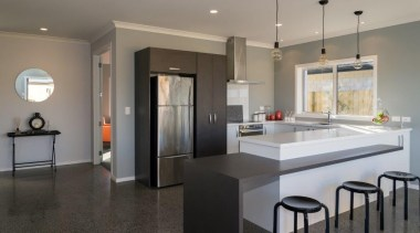 Tauranga Showhome - Tauranga Showhome - cabinetry | cabinetry, countertop, floor, flooring, interior design, kitchen, real estate, room, gray, black