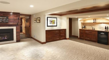 Because of its expansive and wide-open layout, a floor, flooring, hardwood, home, interior design, laminate flooring, living room, real estate, room, wood, wood flooring, orange, brown