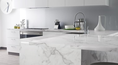 180fx carerra marble 1.jpg - 180fx_carerra_marble_1.jpg - countertop countertop, floor, furniture, home appliance, interior design, kitchen, product design, table, tap, tile, wall, gray, white