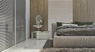 bedroom design - Masculine Apartments - bed | bed, bed frame, door, floor, flooring, furniture, home, interior design, mattress, wall, window, window covering, window treatment, wood, gray