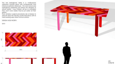 Hugh Worth - Winner, Professional Category - Red design, font, furniture, line, product, product design, red, table, text, white
