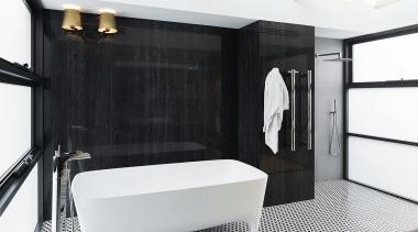 Large porcelain panels create a wood-look feature surface bathroom, floor, interior design, room, white, black, porcelain panels, towel rail, sconces