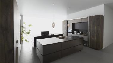 Worktop Dekton Sirius photocredit kitchenhouse kh2015 B02 architecture, bed frame, floor, furniture, interior design, kitchen, real estate, room, black, gray