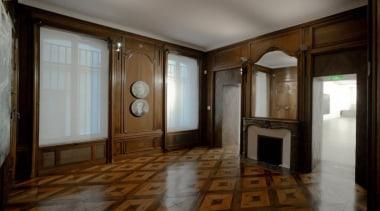 The Vincent Van Gogh Foundation is the result ceiling, estate, floor, flooring, interior design, property, real estate, room, window, wood, wood flooring, brown, gray
