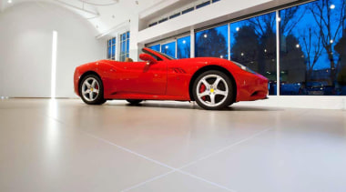 Laminam is a new concept in decorative surfaces automotive design, car, ferrari california, floor, land vehicle, luxury vehicle, motor vehicle, performance car, race car, red, sports car, supercar, vehicle, gray, white