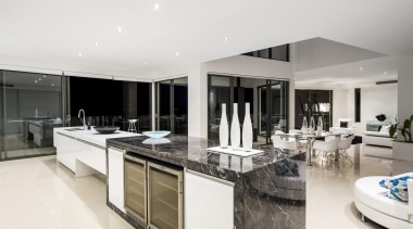 Winner Kitchen Design and Kitchen of the Year countertop, estate, interior design, kitchen, penthouse apartment, real estate, white