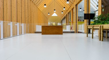 Solería en Pabellon España Milan 2015 Dekton Zenith architecture, ceiling, daylighting, floor, flooring, interior design, roof, structure, wood, white, orange