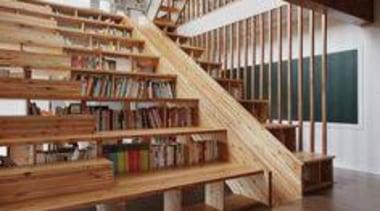 Multitasking Furniture - A Library Staircase/Slide - daylighting daylighting, floor, flooring, handrail, hardwood, interior design, laminate flooring, living room, stairs, wall, wood, wood flooring, wood stain, brown