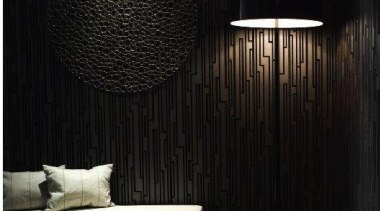 Dark structured wallpaper w black lamp.... - Demure ceiling, interior design, lamp, lampshade, light fixture, lighting, lighting accessory, living room, product design, wall, wallpaper, black