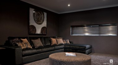 Home theatre design. - The Providence Display Home angle, ceiling, couch, home, interior design, lighting, living room, room, wall, black