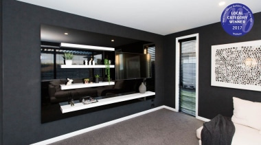 Dark charcoal walls in the media room make interior design, property, black, white