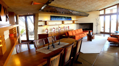 An extensive historic restoration of this mid-century Frank dining room, interior design, property, real estate, table, brown