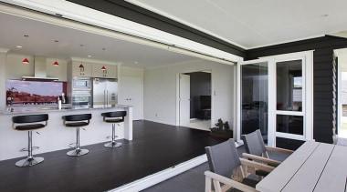 Open plan kitchen featured in award winning design interior design, real estate, window, gray, black