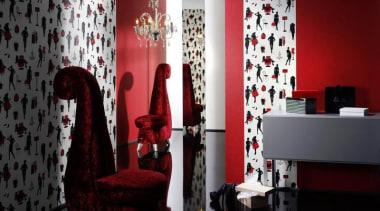 Raum Aqua Decor - Aqua Deco Range - curtain, interior design, living room, red, room, table, textile, wall, red, black