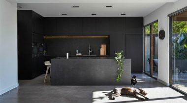 DKO Architecture – 2015 TIDA Australia Kitchens – architecture, floor, interior design, living room, lobby, wall, black, gray