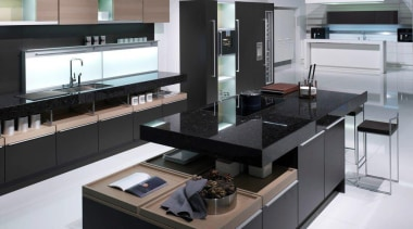Showroom KitchenFor more information, please visit Poggenpohl countertop, interior design, kitchen, product design, black, white