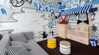 Who better than Facebook to redefine what a design, interior design, mural, room, wall, white