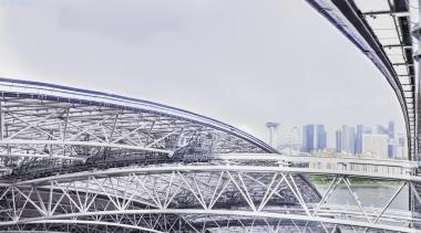 Singapore-based engineering company MHE-Demag provided the roof moving architecture, bridge, building, daytime, fixed link, landmark, line, metropolis, metropolitan area, sky, skyway, sport venue, stadium, structure, urban area, white