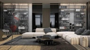 modern industrial design - Masculine Apartments - floor floor, furniture, interior design, living room, table, window, gray, black
