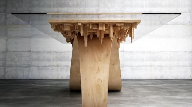 Wave City 3 - Wave City 3 - column, furniture, product design, structure, table, wood, white, gray