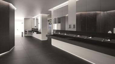 Ambiente baño aeropuerto Lavabo Nova en Silestone color architecture, bathroom, floor, flooring, interior design, lobby, product design, public toilet, tile, gray, black