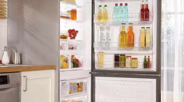 Product Images - Fridges - display case | display case, home appliance, kitchen appliance, major appliance, product, refrigerator, shelf, shelving, gray