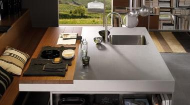 Italia Kitchen designed by Antonio Citterio for Arclinea countertop, furniture, interior design, kitchen, product design, table, black, gray