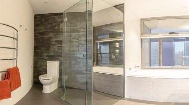 Winner Bathroom Design of the Year 2013 Tasmania architecture, bathroom, estate, floor, flooring, glass, interior design, property, real estate, room, tile, white