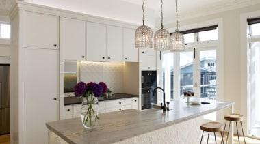 Mount Eden Kitchen - Mount Eden Kitchen - countertop, floor, flooring, furniture, hardwood, interior design, kitchen, table, wood flooring, gray