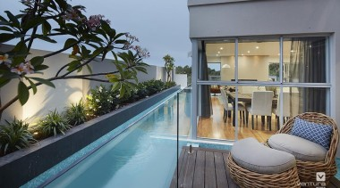 Outdoor swimming pool. - The Monterosso Two Storey apartment, architecture, balcony, condominium, estate, home, house, interior design, property, real estate, resort, swimming pool, villa, gray, teal