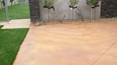 Colourmix 25 - Colourmix_25 - backyard | concrete backyard, concrete, driveway, floor, grass, outdoor structure, property, road surface, walkway, yard, orange