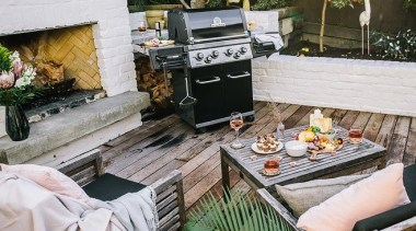 View the Canadian-Made Broil King BBQ RangeGas, barbecue, barbecue grill, furniture, outdoor grill, outdoor structure, patio, table, gray, brown