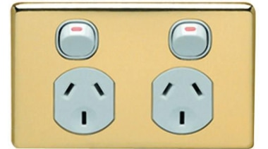 Classic C2000 Series double socket outlet with polished ac power plugs and socket outlets, technology, orange, white