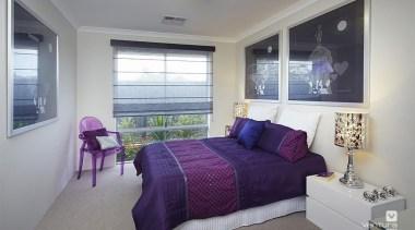 Bedroom design. - The Allure Display Home - bed frame, bedroom, ceiling, home, interior design, property, real estate, room, window, gray